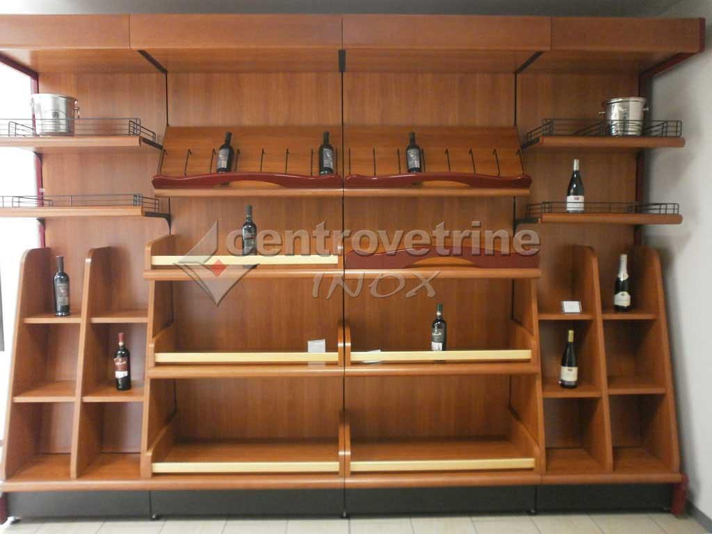 Scaffale enoteca ciliegio in legno for Arredamento enoteca