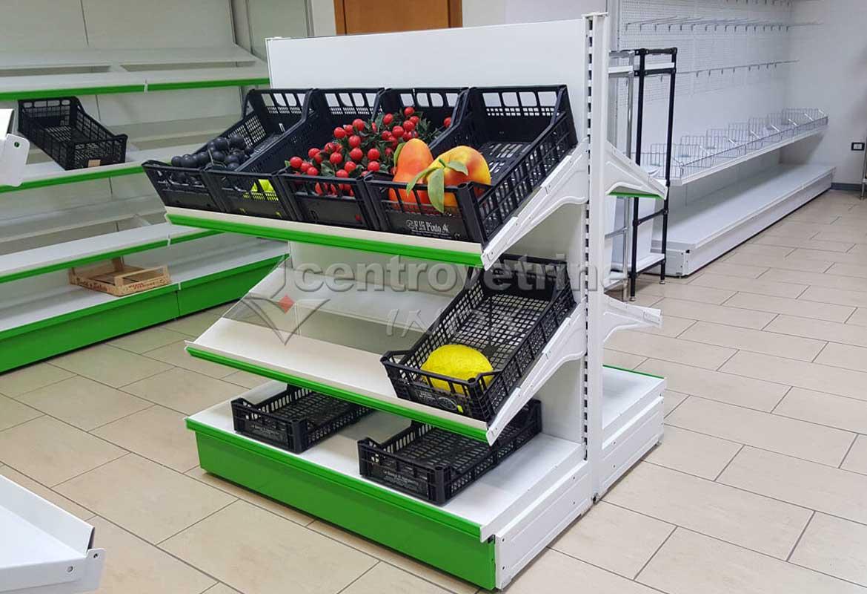 Scaffale gondola in ferro da 96 per frutta e verdura for Scaffali a gondola